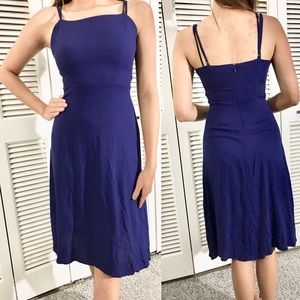 Contemporary Simple Navy Blue Dress Fit and Flare